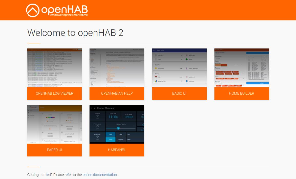 Главное окно веб-интерфейса OpenHAB