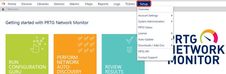 Основные настройки системы PRTG Network Monitor