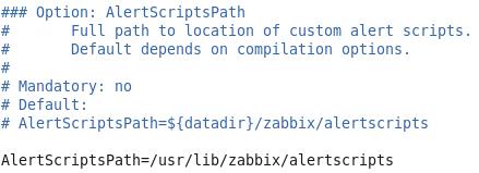 Настройка файла конфигурации Zabbix для определения директории для пользовательских скриптов
