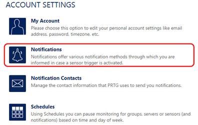 Настройка уведомлений в разделе Notifications системы PRTG Network Monitor