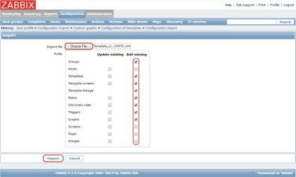 Настройка импорта шаблона в Zabbix