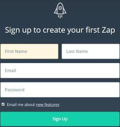 Регистрация в Zapier