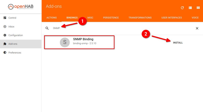 Поиск и установка дополнения SNMP Binding