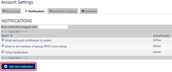 Настройка нового уведомления на страницы NOTIFICATIONS в системе PRTG Network Monitor