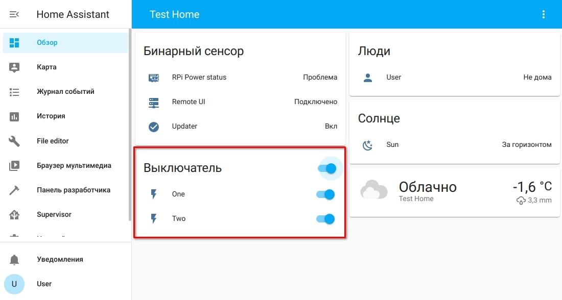 Управление розетками NetPing в веб-интерфейсе Home Assistant