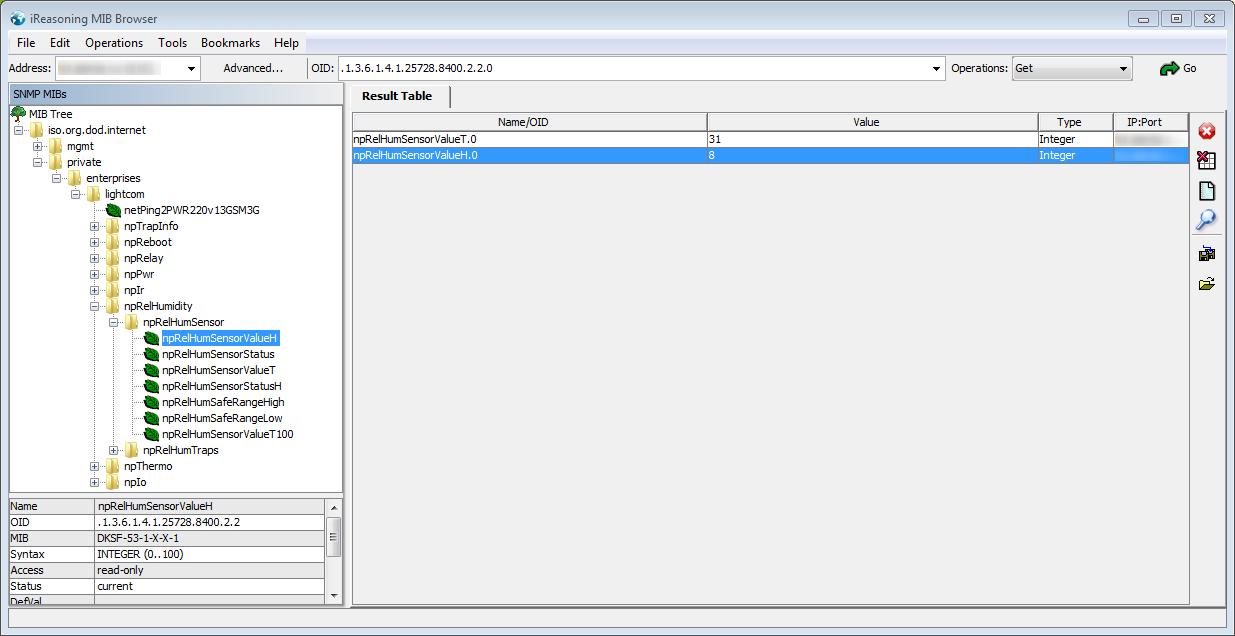Просмотр MIB-таблицы устройства NetPing
