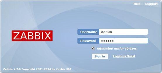 Авторизация на web-интерфейс Zabbix