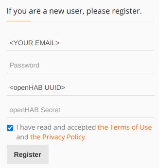 Модальное окно регистрации на myopenhab.org