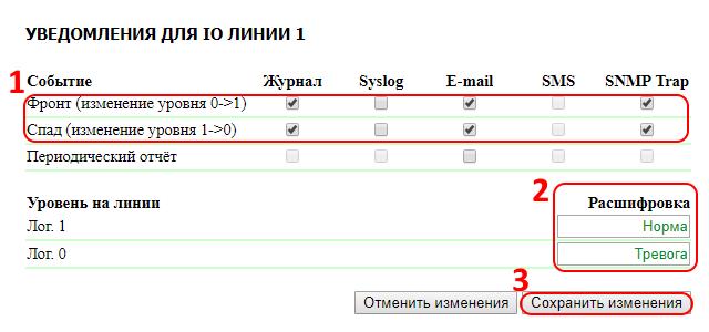UniPing v3 настройка уведомлений IO линии 1