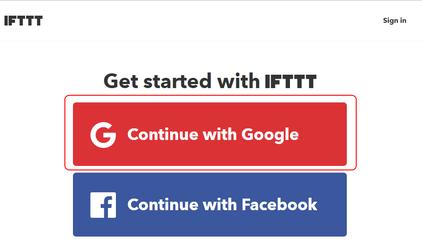 Регистрация в IFTTT