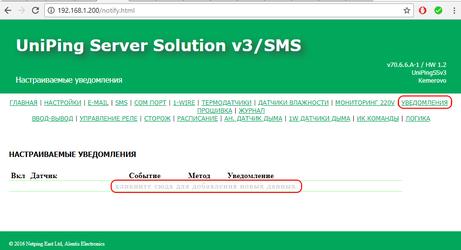 UniPing Server Solution v3 SMS настройка настраиваемых уведомлений