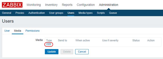 Zabbix настройки пользователя Admin