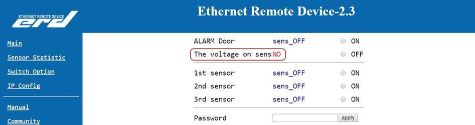 SNR-ERD-2.3 - sensor statistic