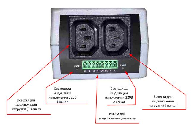 NetPing 2PWR-220 v3ETH - вид со стороны управляемых розеток