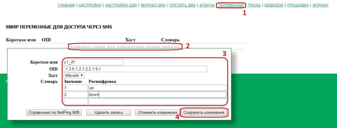 NetPing SMS SNMP переменные