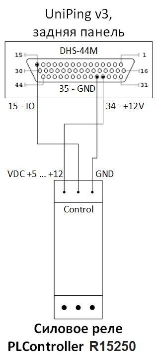 Схема подключения через IO линию UniPing v3 к PLController R15250 силовому реле 15A 250B на DIN рейку силовому реле 15A 250B на DIN рейку