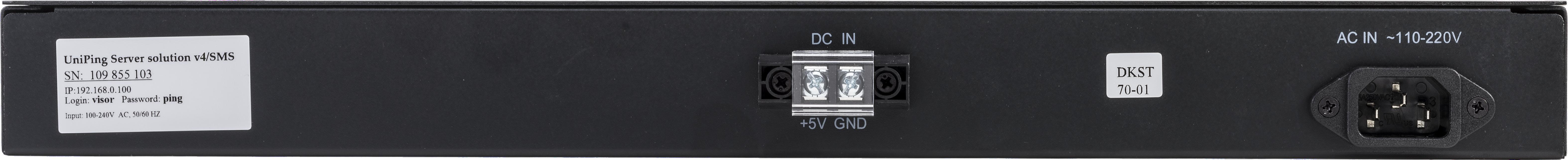 Устройство мониторинга микроклимата серверной комнаты UniPing server solution v4SMS - задняя панель