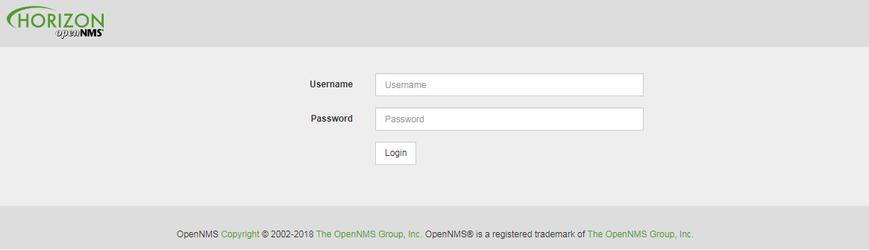 OpenNMS страница авторизации
