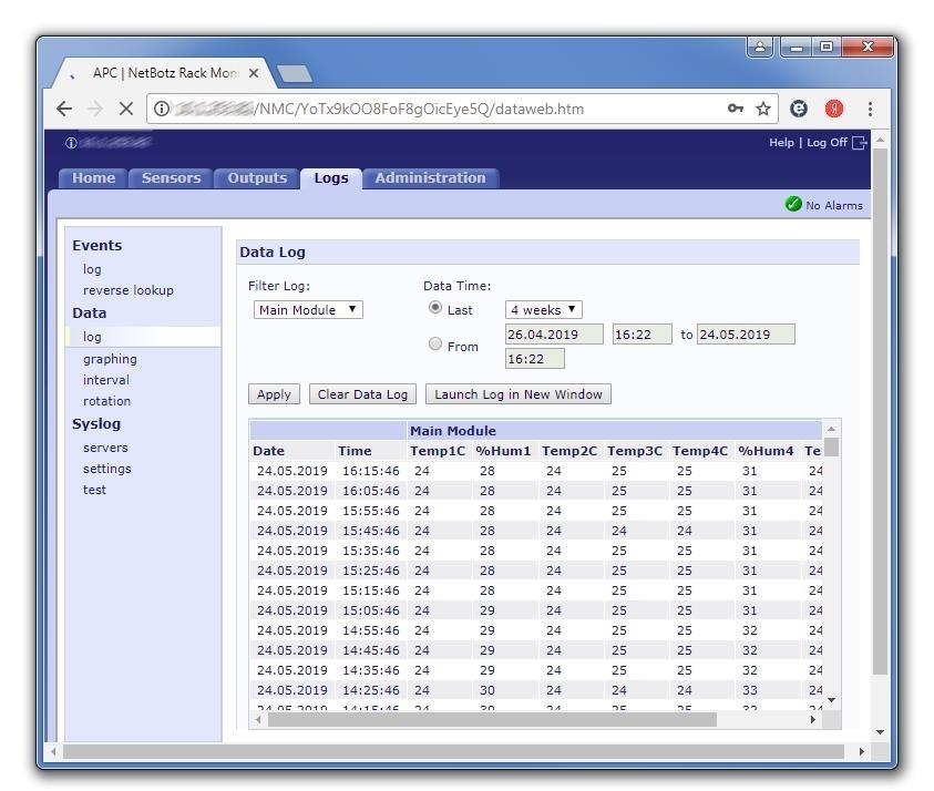 Netbotz регистрированные данные датчика