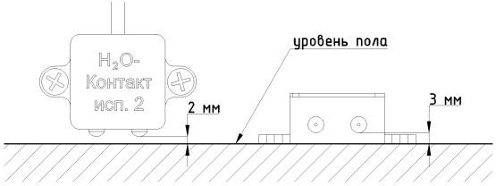 Схема установки датчика протечки H2O