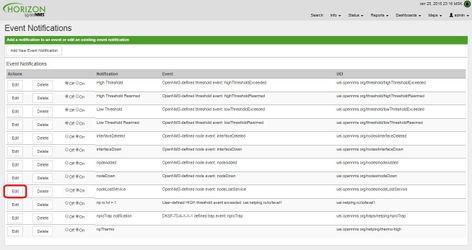 OpenNMS редактирование события для оповещения