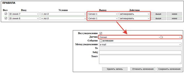 NetPing UniPing сигнал логики для настраиваемых уведомлений