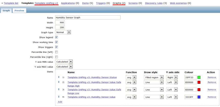 Подробная настройка графиков в шаблоне устройства UniPing v3