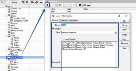 The Dude - добавление e-mail уведомлений от устройств NetPing