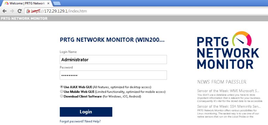 Пример мониторинга серверной комнаты на основе PRTG и