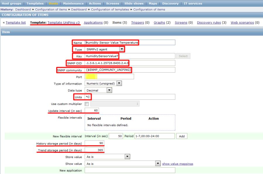 Настройка элемента данных для UniPing v3 в Zabbix