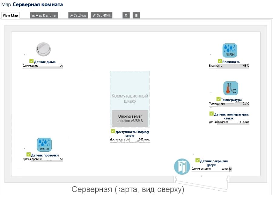 Пример мониторинга серверной комнаты на основе PRTG и устройств NetPing