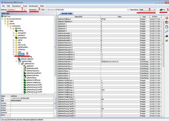 Отображение списка OID, отвечающих за взаимодействие устройства UniPing server solution и счетчика Энергомеры в ПО Ireasoning MIB browser