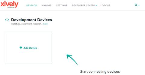 Кнопка добавления нового устройства в xively.com