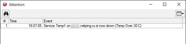 The Dude - уведомления программы о превышении температуры от устройства NetPing