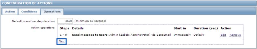 Настройка действия в Zabbix