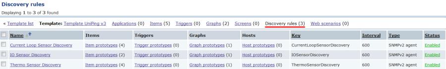 Настройка правил обнаружения в шаблоне устройства UniPing v3