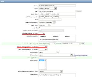 Периодичность опроса и срок хранения данных в Zabbix для UniPing v3