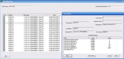 Пример использования утилиты Trap Receiver для получения и обработки SNMP TRAP сообщений от устройств NetPing