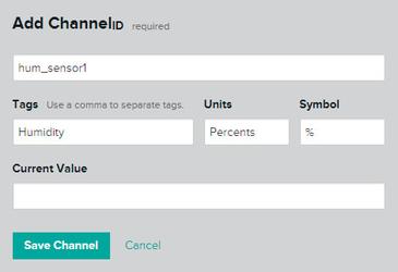 Добавление канала датчика влажности в сервисе xively.com
