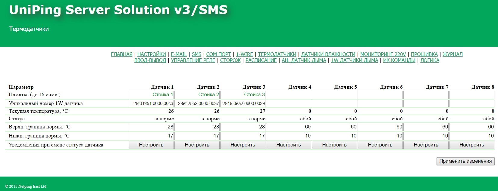 Мониторинг температуры в web-интерфейсе UniPing server solution v3SMS