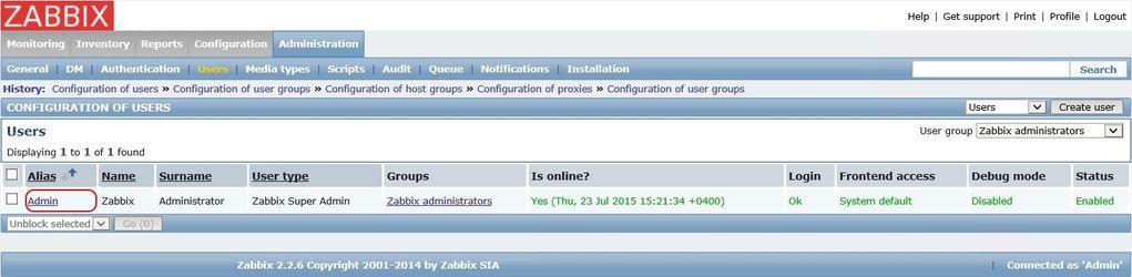 Выбор пользователя для привязки нового способа уведомлений в Zabbix