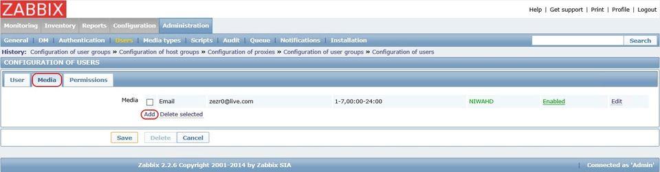 Добавление оповещения в настройках пользователя в Zabbix