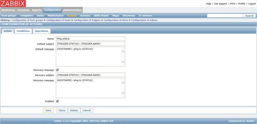 Настройка действия и текста SMS уведомления в Zabbix