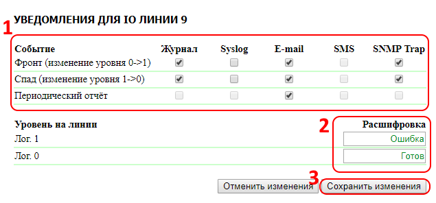 UniPing v3 настройка уведомлений IO линий 9 10 13 и 14