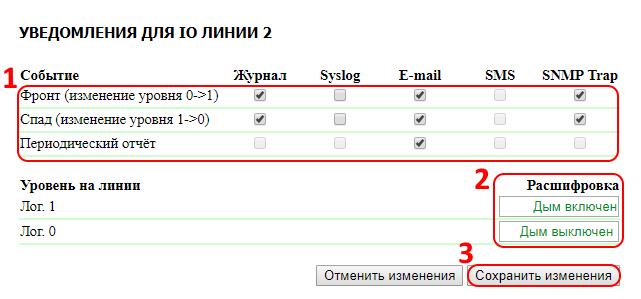 UniPing v3 настройка уведомлений IO линии 2