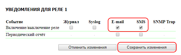 UniPing server solution v3SMS настройка уведомлений Реле1