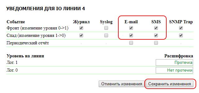 UniPing server solution v3SMS настройка уведомлений IO линии 4