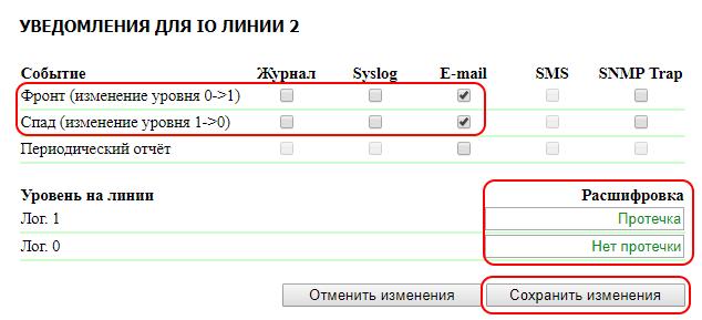 NetPing IO v2 уведомления для IO линии 2