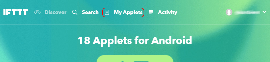 Переход в раздел My Applets