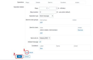 Заполнение поля Operations в Zabbix 3.4